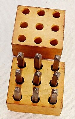 "Made in USA-- 1/8"" Steel Numbers Figures 9 Piece (1-9) Stamp Set  Metal Wood"