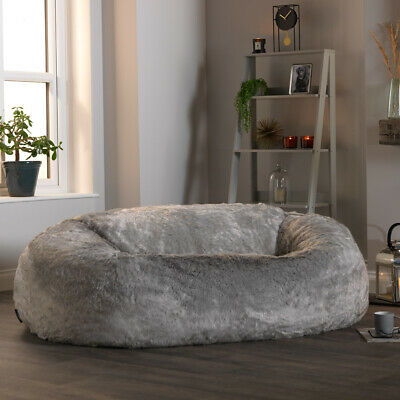 Extra Large Faux Fur Bean Bag  Love Seat Sofa  Two Seater Beanbag ARCTIC GREY
