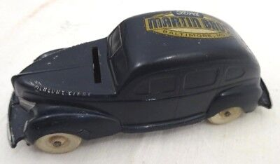 Vintage 1940's Advertising Ford Martin Bros Cast Metal Toy Car Bank