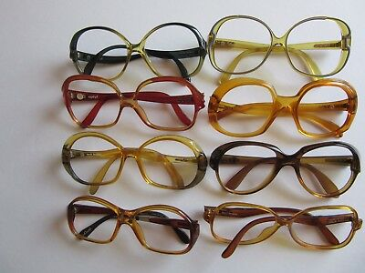 Lot of 8 Women Vintage Eyeglass Frames, Playboy, Saphira, Optyl, Marwitz, Etc.