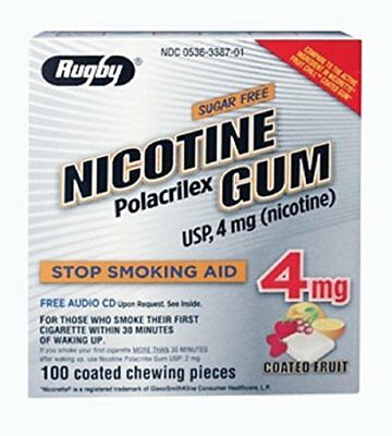 3 Pack Rugby Nicotine Polacrilex Gum 4 mg Sugar Free, Coated Fruit 100 Pieces Ea