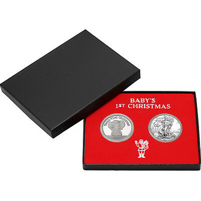 Baby's First Christmas Silver Round and SAE 2pc Box Gift Set