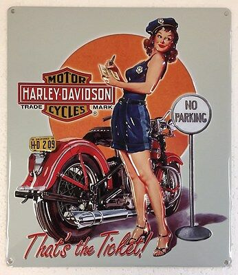 Ande Rooney HARLEY DAVIDSON TICKET BABE Pin Up Girl Tin Motorcycle Garage Sign
