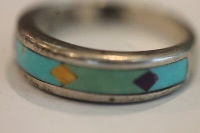 Vintage Sterling Silver Turquoise Tigers Eye And Purple Stone Band Ring