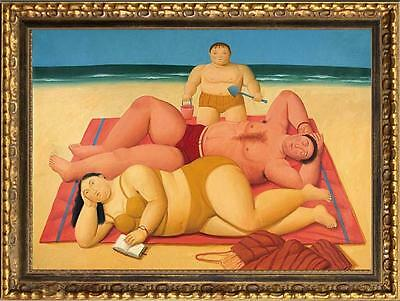 """Oil painting repro of Fernando Botero fat girl swimming on canvas 24""""x36"""""""