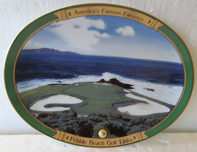 Colorful Ceramic Plate-Pebble Beach 7Th Hole 1995 With Certificate
