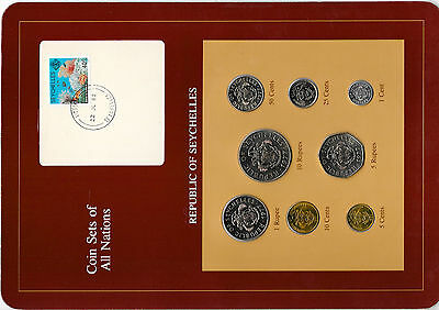 Coin Sets of All Nations Seychelles w/card 1977-1982 UNC 5 cents 1981 22JL82