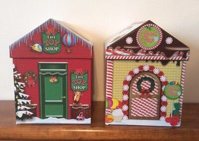 Lot Of 2 Christmas House Shaped Toy Shop / Sweet Shop Decorative Boxes Gift Box