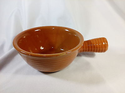 Western Stoneware Monmouth Pottery Handled Soup Bowl - Light Brown Tan