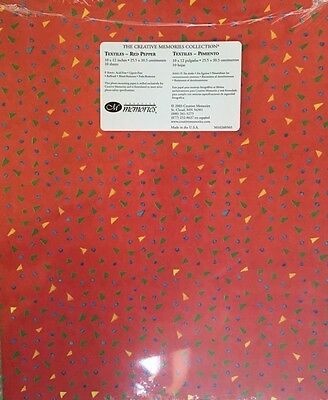 """New in Pkg Creative Memories Textiles Red Pepper Printed 10""""x12"""" Paper Pack 10"""