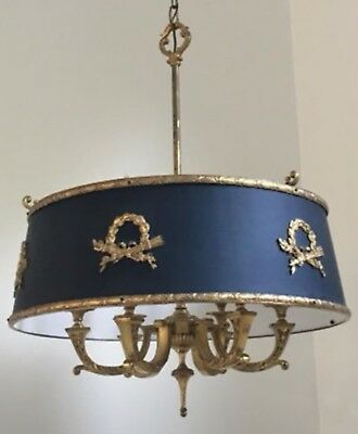 "Stately French Empire Tole Brass Bouillotte Chandelier Ceiling Lamp 23"" Wide"