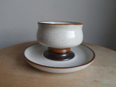 Denby Potters Wheel Footed Sundae Dish Bowl & Under Plate