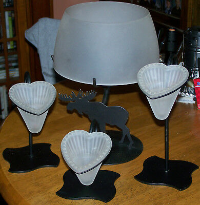 Partylite Black Iron And Glass Tealight Holders Moose And Hearts