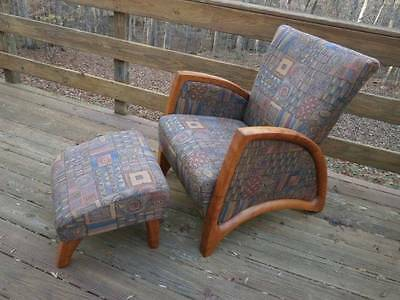 Danish Modern Chair & Ottoman Upholstered Wood Holstebro Mobelfabrik Denmark