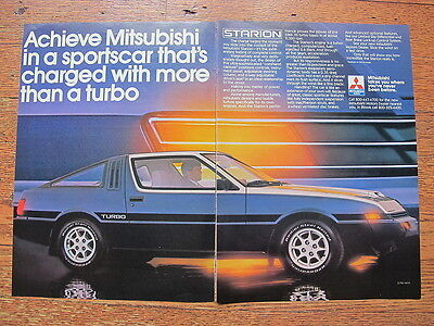 """Mitsubishi Starion Turbo 1983 Advertising 2 Page Print Ad Conquest 8"""" x 10.75"""""""