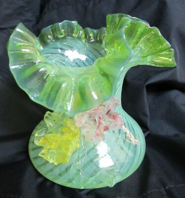 Vintage Bohemian Czech Art Glass Opalescent Vaseline Glass Vase