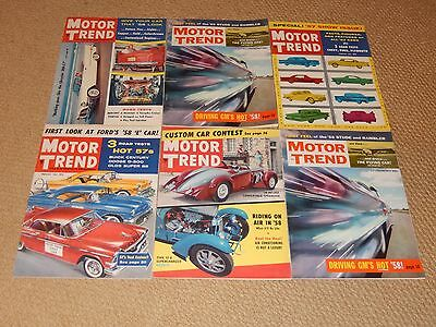 Motor Trend Magazine lot of 6 from 1957 Olds 88 Dodge D500 Delage Bugatti Ford