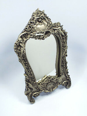 Antique Heavy Hand Chased Sterling Silver Repousse Ornate Cherubs Framed Mirror