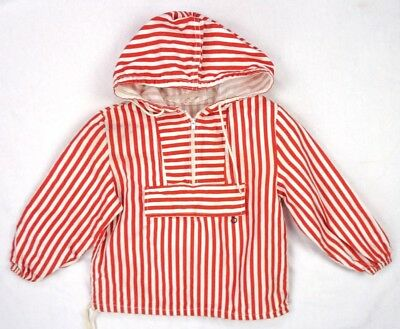 Vintage 60s Red/White Stripe Cotton Beach Jacket 6/8 S BOYS Youth Hooded Pocket