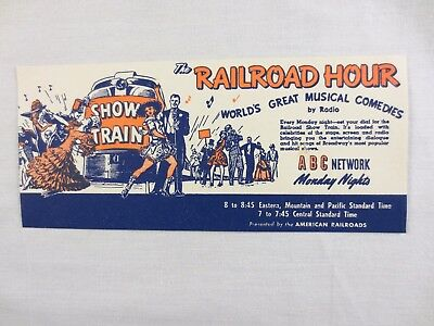Advertising Ink Blotter Railroad Show Train Hour ABC Radio Network