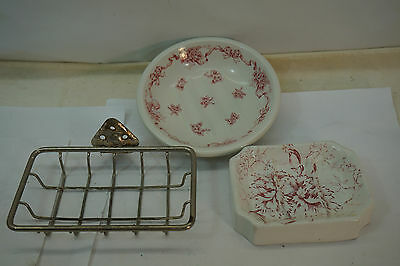 Antique Soap Dish Metal Wire Wall Mount Porcelain Picotte Transferware Lot 3 Pcs