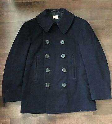 USN US NAVY 10 BUTTON PEA COAT WW2 WWII 1940s