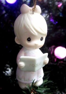 Precious Moments Christmas Ornament 1984 Wishing you a Merry Xmas Porcelain Girl