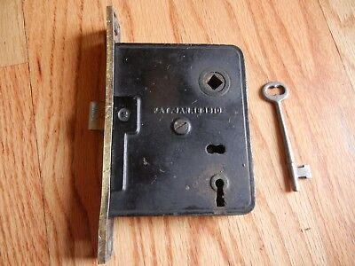 ANTIQUE RUSSWIN MORTISE ENTRY LOCK PUSH BUTTON w/ WORKING KEY PAT'D 1910