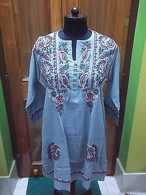 "100% Cotton Ethnic S 39"" M 40"" Top Handmade Chikan Embroidery Tunic Kurta Kurti"