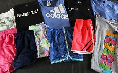 Lot 11 Girl's UNDER ARMOUR NIKE ADIDAS Heatgear Shorts Shirts YLG Large 14 16