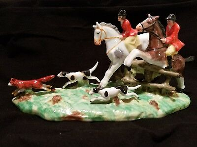 Antique Porcelain Fox Hunt Gold Anchor Chelsea Foreign Equestrian Horse Ceramic