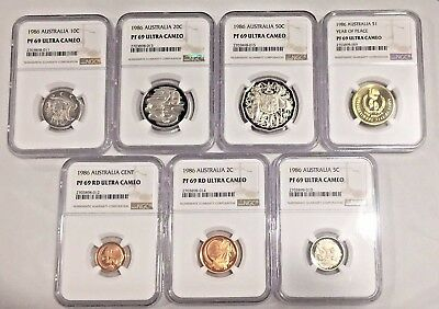 1986 PF69 Ultra Cameo Australia 7 Coin Proof Set NGC Year of Peace Dollar