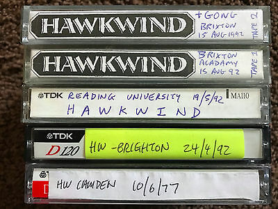 HAWKWIND - 5 x Live Tapes from 1977 and 1992 (Bob Calvert, Dave Brock)