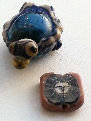 2x Ancient Phoenician mosaic glass beads. ca, 500 BC.