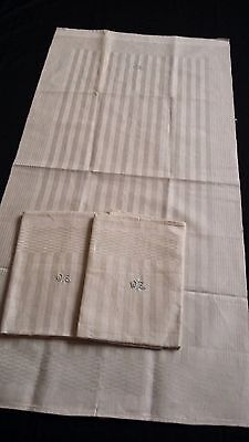 3 old unused linen kitchen Towels with stripe pattern