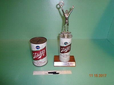 Vintage Schlitz Beer Collectables Coin Bank And Trophy