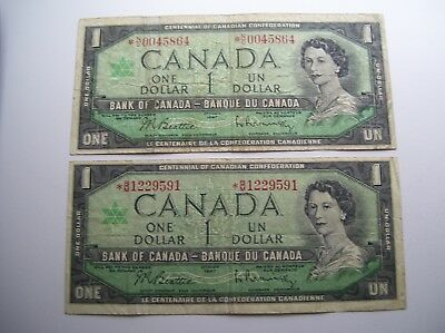 Lot Of (2) 'rare' 1967 Bank Of Canada *asterisk Replacement Notes Low!! Serial#