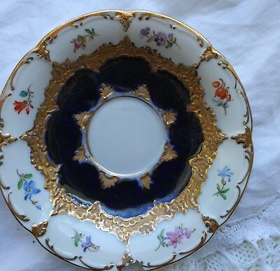 Meissen Famous Pattern Saucer Chip Fixable Navy Heavy Gold Beauty
