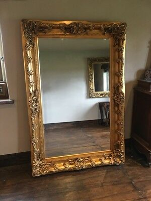 Large Statement Antique Gold Ornate French Leaner Dress Floor Wall Mirror 187cm