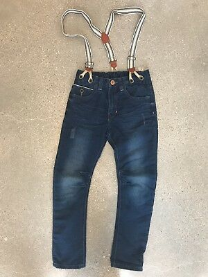 Zara Boys Blue Denim Jeans With Removable Suspenders Size 6/7