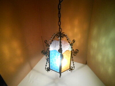 Vintage Gothic Medieval Twisted Iron Hanging Chandelier Light-Muli Colored Glass