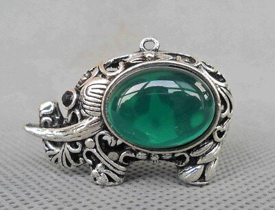 Chinese Handwork Miao Silver Carve Elephant Inlay Crystal Lucky Delicate Pendant