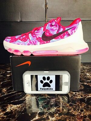 """Nike KD 8 Premium """"Aunt Pearl"""" Pink Floral 837786-603 GS Size 6Y = Women's 7.5"""