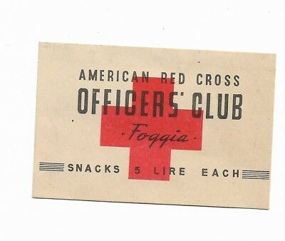 1940S Ww2 Red Cross Officers Club Snacks Base Chit For Us Troops    # 474