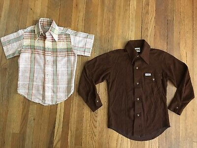 Vintage Two Boys YOUTH Pearl Snap Western Shirts Wrangler Brown Plaid 6/8