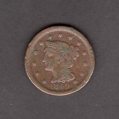 US Large Cent Braided Hair 1849 in G to VG Good to Very Good Condition