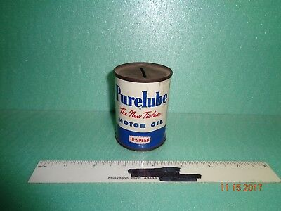 Vintage PURELUBE OIL CAN Coin Bank