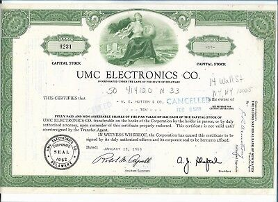 Stock Certificate UMC Electronics Co (1968) Cancelled