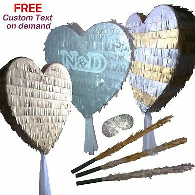 Heart Gold Silver Pinata Wedding Prom Hen Birthday Girls Love Valentine Party UK