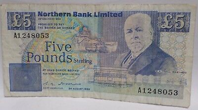Five Pounds Northern Bank Limited 24 August 1988. W.A. Traill 1844-1933